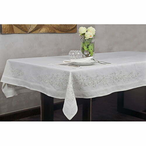 Luxe table cloth perenne design for 10 seater table cloth